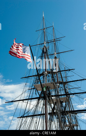 Museum ship, USS Constitution, masts, rigging and national flag, frigate of the U.S. Navy, Charlestown Navy Yard, - Stock Photo