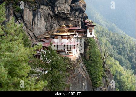 Tibetan Buddhism, Taktsang Palphug Monastery on a rock face, also known as The Tiger's Nest, near Paro, Himalayas, Bhutan