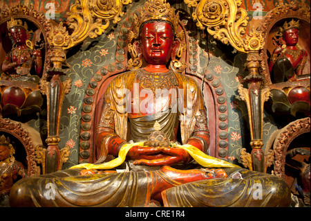Tibetan Buddhism, Newari-style sculptures, colourfully painted statues made of wood and clay, red Buddha statue, - Stock Photo