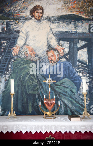 Altar, modern wall painting or mural in a church, Christ depicted as fisherman, Flatey, Iceland, Scandinavia, Northern - Stock Photo