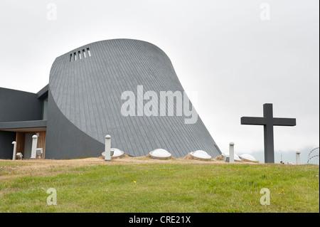 Modern church, concrete construction, with a large cross, new parish church, Bloenduós, Blonduos, Iceland, Scandinavia - Stock Photo