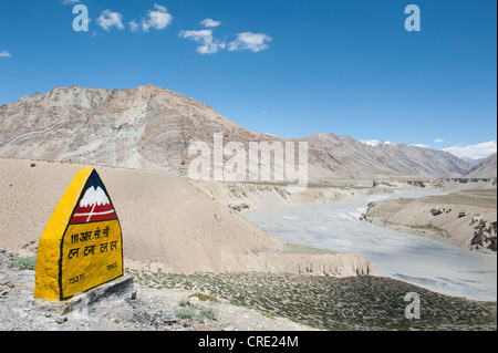Sign on the mountain pass road, Manali-Leh highway, mountain landscape, near Sarchu, Lahaul and Spiti district, - Stock Photo