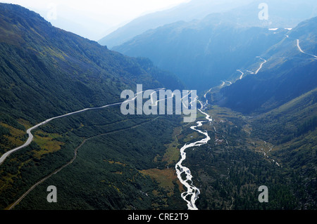View from Gletsch over the mountain pass roads from Furka and Grimsel, Valais, Switzerland, Europe - Stock Photo