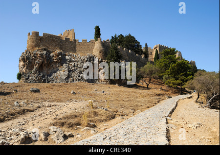 Acropolis, Lindos, Rhodes island, Greece, Europe - Stock Photo