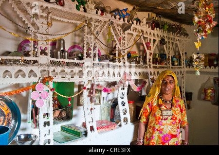 Indian woman wearing a traditional sari standing in her kitchen next to an ornate shelf containing household appliances - Stock Photo
