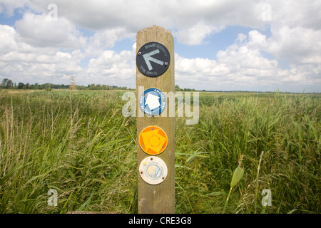 Angles way long distance footpath marker post near Oulton Broad, Suffolk, England - Stock Photo