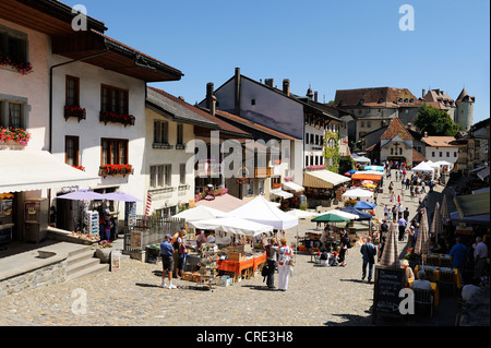 Market in the medieval town of Gruyères, Fribourg, Switzerland, Europe - Stock Photo