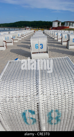 beach chairs in rank and file, Germany, Insel Ruegen, Binz - Stock Photo
