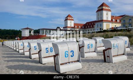 beach chairs in front of Kurhaus, Germany, Ruegen, Insel Ruegen, Binz - Stock Photo
