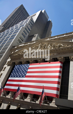 American flag at Wall Street, USA, New York City - Stock Photo