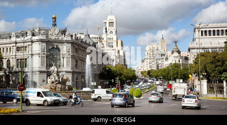 Central Bank of Spain, Banco de Espana, Plaza de la Cibeles square, Madrid, Spain, Europe - Stock Photo