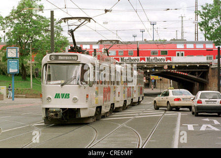 tram mvb midst of car traffic magdeburg germany stock photo royalty free image 48870721 alamy. Black Bedroom Furniture Sets. Home Design Ideas