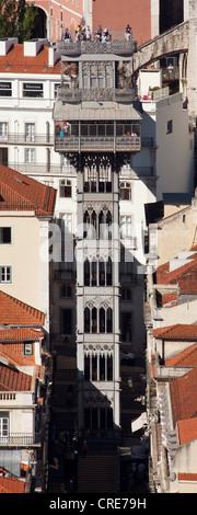 Elevador de Santa Justa, Santa Justa Elevator, connecting the two historic districts of Baixa and Chiado, Lisbon, - Stock Photo