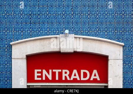 Entrada, entrance sign on a tiled wall in the historic district of Baixa in Lisbon, Portugal, Europe - Stock Photo