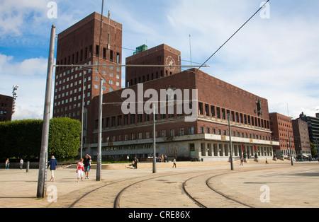 Radhus Oslo Town Hall, Oslo Harbour, Oslo, Norway. - Stock Photo