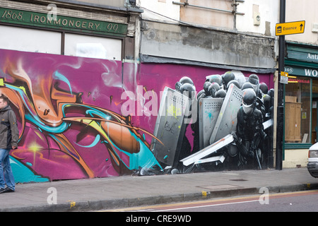 Graffiti in Stokes Croft Bristol - Stock Photo