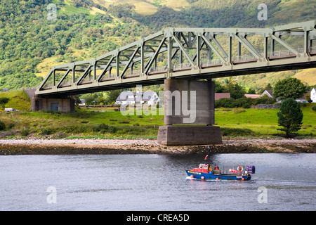 View of Ballachulish Bridge across Loch Leven from South Ballachulish looking to North Ballachulish Scotland - Stock Photo