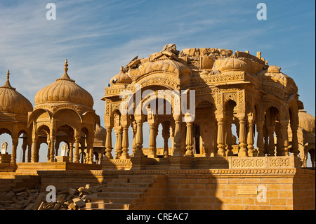 Cenotaph, old burial ground of the rulers of Jaisalmer, Rajasthan, India, Asia - Stock Photo