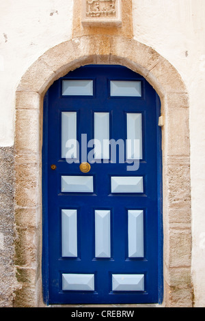 Typical old wooden door to a residential building in the historic town or medina, UNESCO World Heritage Site, , - Stock Photo
