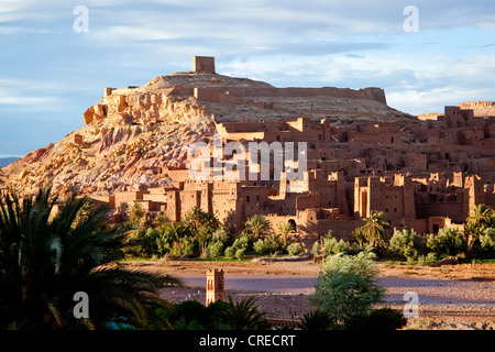 Traditional Berber adobe architecture, Kasbah in Aït Benhaddou, UNESCO World Cultural Heritage, Morocco, Africa - Stock Photo
