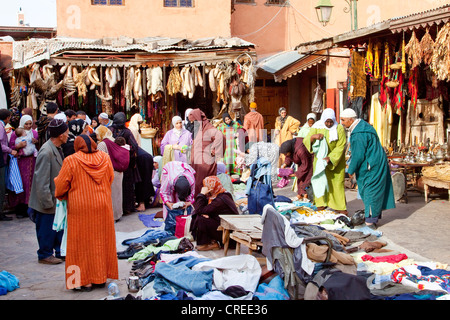 Clothing market in the souk, in the Medina, historic district in Marrakech, Morocco, Africa - Stock Photo