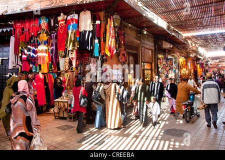 Shops in the souq, market, in the Medina, historic district, Marrakech, Morocco, Africa - Stock Photo