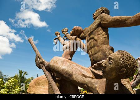 Sculpture celebrating the abolishment of slavery, Big Corn Island, Caribbean Sea, Nicaragua, Central America - Stock Photo