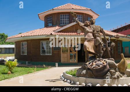 Culture House with a sculpture celebrating the abolishment of slavery, Big Corn Island, Caribbean Sea, Nicaragua - Stock Photo