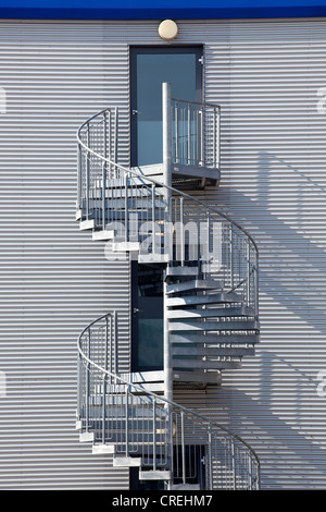 Spiral staircase, emergency exit, at an office building in Unterfoehring near Munich, Bavaria, Germany, Europe - Stock Photo