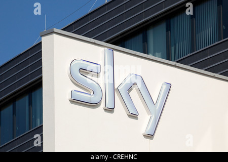 Logo at the head office of the pay-TV channel Sky Deutschland AG in Unterfoehring near Munich, Bavaria, Germany, - Stock Photo