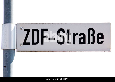 Road sign of the ZDF-Strasse street outside the Bavaria state studio of the ZDF television station in Unterfoehring - Stock Photo
