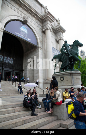 Outside steps and entrance to American Museum of Natural History, New York City iconic Manhattan - Stock Photo
