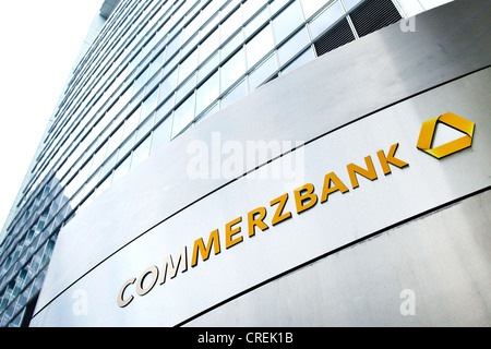 Logo on the headquarters of Commerzbank AG in the Commerzbank Tower, Frankfurt am Main, Hesse, Germany, Europe - Stock Photo