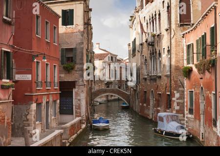 Side canal in the Sestiere Castello quarter, Venice, Veneto, Italy, Southern Europe - Stock Photo