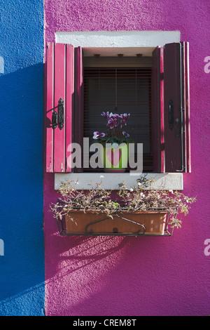 Colourful house, window, Burano Island, Venice, Italy, Southern Europe - Stock Photo