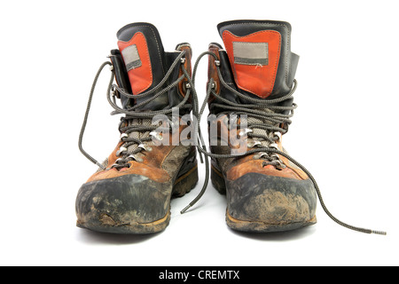 Pair of worn hiking boots - Stock Photo