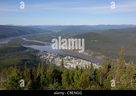 View on Dawson City, Yukon and Klondike Rivers from Midnight Dome, Yukon Territory, Canada - Stock Photo
