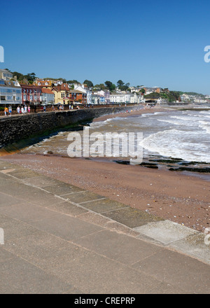 A panoramic view of Dawlish seafront and the famous sea wall - Stock Photo