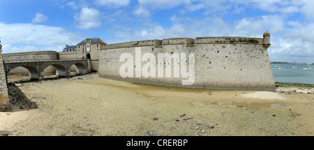 Entrance to the citadel of Port Louis Morbihan Brittany France - Stock Photo