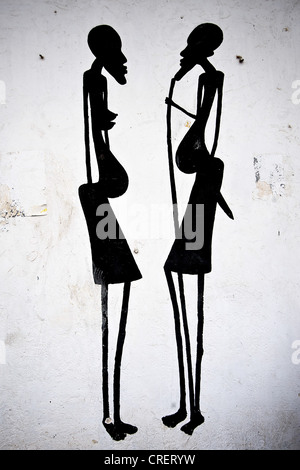 Artistic detail of drawing depicting two women - Stock Photo