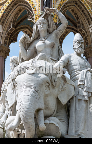 Asia group of sculptures at Albert Memorial, London, England. - Stock Photo