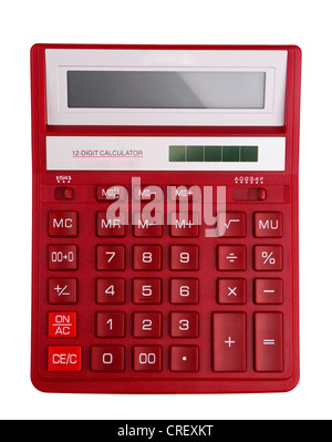 Red calculator - top view isolated on white Stock Photo