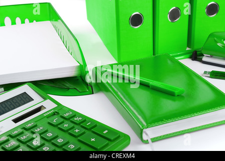 Green office stationery still life as a concept of environmental business - Stock Photo