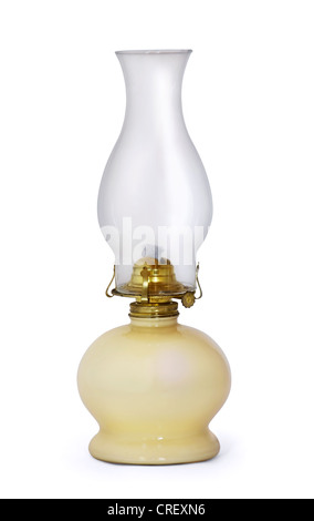 Old swiss kerosene lamp isolated on white - Stock Photo
