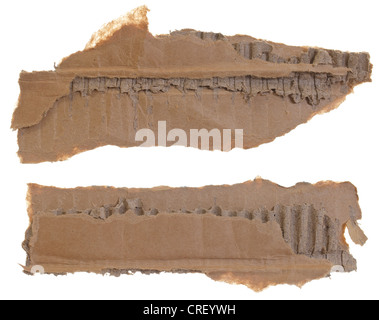 Collection of two torn cardboard pieces isolated over white background, each piece photographed separately - Stock Photo