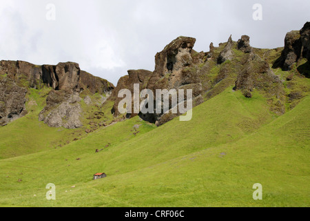 landsacpe on Iceland with old stable, Iceland - Stock Photo