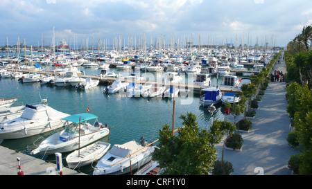 Puerto Pollensa with many yachts in winter, Spain, Majorca, Port Polenca - Stock Photo