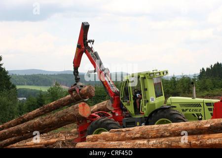 Norway spruce (Picea abies), harvester handling spruce logs, Germany, North Rhine-Westphalia, Sauerland - Stock Photo