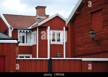 red angular wooden house, Sweden, Smaland, Vimmerby - Stock Photo
