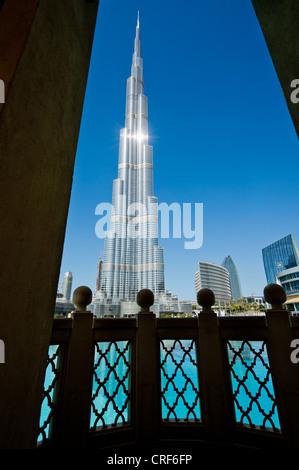 The Burj Khalifa, Dubai, UAE, United Arab Emirates highest building tower - Stock Photo